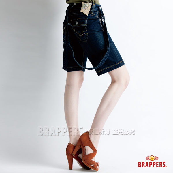 BRAPPERS 女款 吊帶五分褲-藍