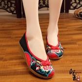 中式盤扣雙喜花刺繡繡花鞋民族風布鞋坡跟復古單鞋散步鞋女 降價兩天