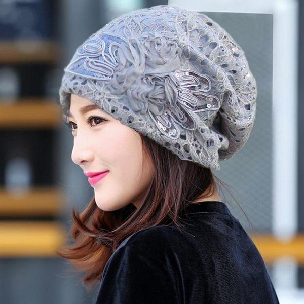 售完即止-蕾絲蝴蝶結花朵帽子女春秋正韓夏季薄款化療帽堆堆帽月子套頭帽庫存清出(4-30S)