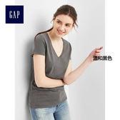 Gap女裝 基本款V領純棉女士短袖T恤 柔軟彈力上衣女 283152-溫和黑色