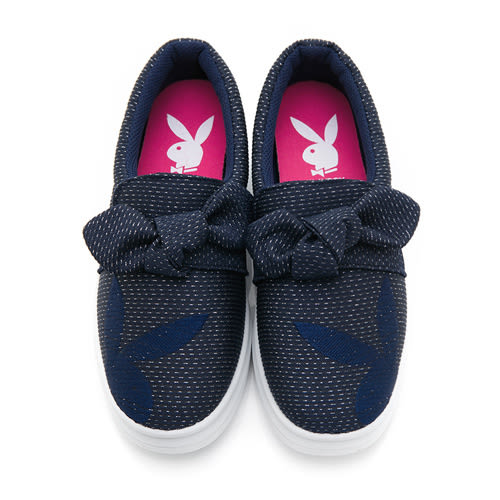 PLAYBOY 可愛甜心 蝴蝶結銀蔥厚底休閒鞋-藍