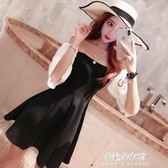 時尚性感連身裙夏黑白拼色一字領露肩夜店收腰抹胸小黑裙禮服  朵拉朵衣櫥