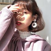 溫暖的羊毛線圈耳釘女韓國洋氣復古百搭鏤空幾何撞色耳環耳夾E500【韓衣舎】