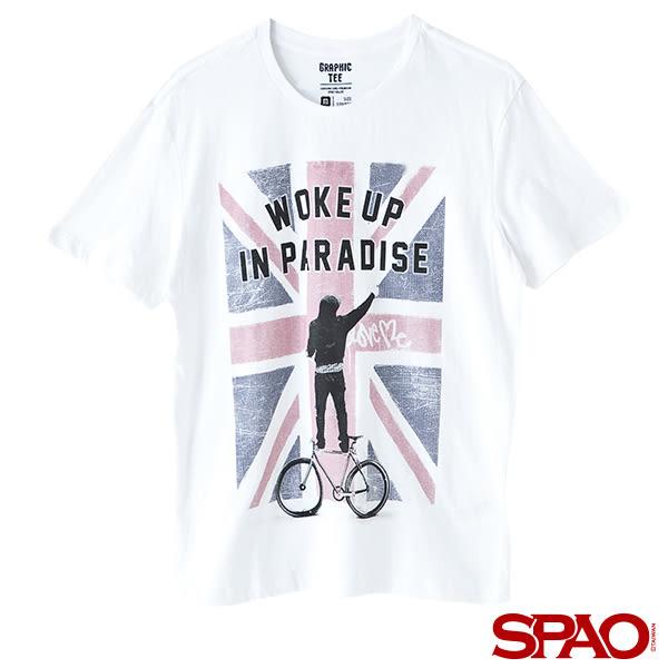 SPAO男款英國國旗人物塗鴉短袖T恤