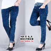 *MoDa.Q中大尺碼*【J5662F】潮流刷色前口袋造型反摺牛仔長褲