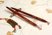 高級精雕龍鳳豪華胎毛筆第一款1支,全手工打造,兼毫,可實際書寫。筆桿材質:紅檀木