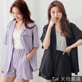 【天母嚴選】兩件式套裝!翻領雪紡西裝外套+短褲(共二色)