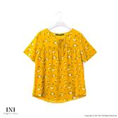 【INI】療癒休閒、清新質感面料雪紡上衣.金黃色