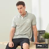【JEEP】男裝 滿版闊葉印花吸濕排汗短袖POLO衫-灰