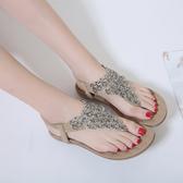 新款夏季羅馬涼鞋 花朵波西米亞大碼平底鞋【多多鞋包店】z7360