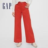 Gap女裝 簡約風格純色休閒寬褲 616968-橙色
