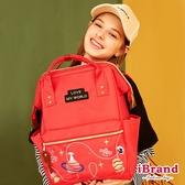 iBrand後背包 喵星球系列素色大開口後背包-紅色 NL-128011-R
