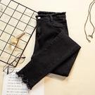 窄管褲 牛仔褲女薄款夏季高腰顯瘦黑色緊身大碼修身小腳褲子-Ballet朵朵