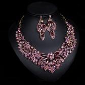 歐美奢華水晶寶石項鏈女短款鎖骨鏈禮服宴會套裝配飾項鏈 KV6295 『小美日記』