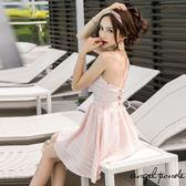 天使波堤~LC0548 ~低胸抓皺綁帶露背大擺連身裙雪紡洋裝共二色可愛性感名媛彩妝師 外拍