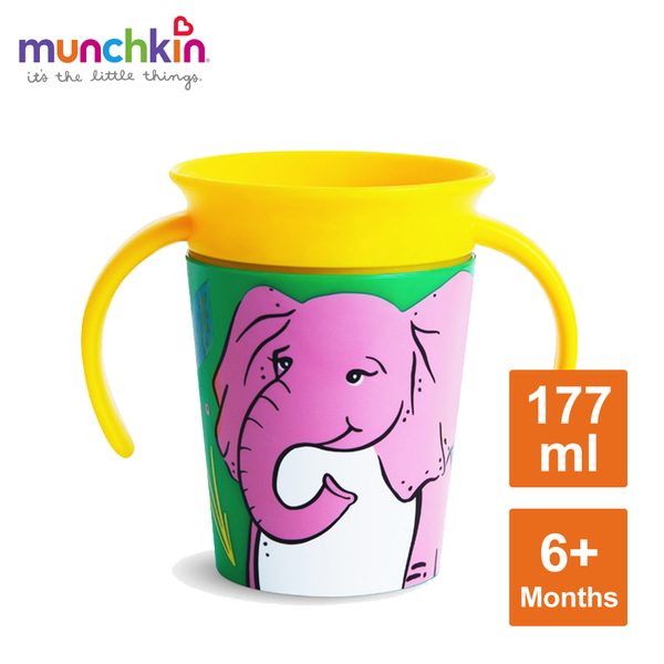 munchkin滿趣健-360度繽紛防漏練習杯177ml-大象