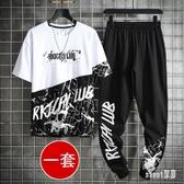 運動休閒套裝男大碼兩件套2020夏季韓版迷彩寬鬆帥氣短袖t恤 LR19296【Sweet家居】