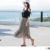 OrangeBear《CA944》素面不規則魚尾裙襬設計腰圍鬆緊雪紡長裙.2色--適 2L~6L