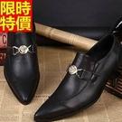 尖頭鞋真皮皮鞋熱銷焦點-金屬環扣英倫商務時尚低跟男鞋子65ai5【巴黎精品】