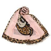 MOSCHINO 經典TOY小熊豹紋拼色薄圍巾(粉紅色)911005-002