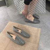 樂福鞋樂福鞋女一腳蹬亮片閃片INS時尚新款英倫風方頭平底單鞋平跟 初語生活