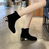 網紅瘦瘦靴短筒襪靴加絨裸靴女秋冬新款彈力襪子靴粗跟短靴 伊衫風尚