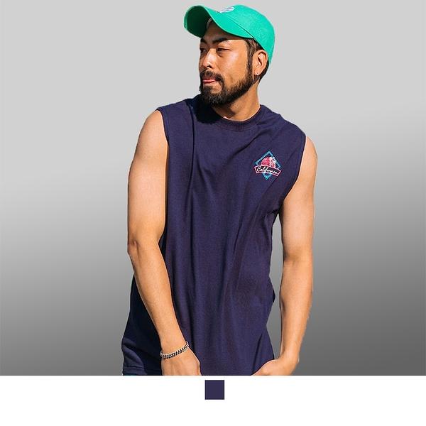 【男人幫大尺碼】T8049*台灣製造紫色海灘風加大尺碼純棉圖案T恤