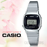 CASIO 卡西歐 手錶專賣店 國隆 LA670WAD-1D 電子女錶 不鏽鋼錶帶 黑色錶面 立體多面切割玻璃