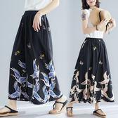 大尺碼褲子 大碼女裝2019夏裝新款仙鶴印花闊腿褲九分褲裙