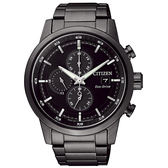 CITIZEN 星辰Eco-Drive光動能 簡約時尚三眼計時腕錶-黑/43mmCA0615-59E