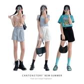 牛仔短褲裙女假兩件高腰2020年新款夏季顯瘦a字半身裙褲
