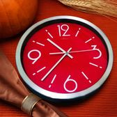 天波石英鐘表現代簡約創意金屬掛鐘客廳紅色時尚靜音臥室時鐘掛表