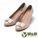 W&M 低調奢華蝴蝶結中跟鞋 女鞋-米(...
