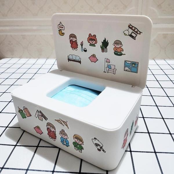 Clove 卡通口罩收納盒兒童口鼻罩收納神器桌面防污帶蓋濕紙巾盒白 小山好物