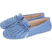 TOD'S Gommino frange 流蘇飾片休閒豆豆鞋(薄霧藍) 1840638-D6