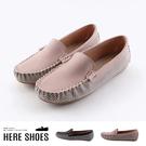 [Here Shoes]休閒鞋-舒適乳膠鞋墊 皮質拼接千鳥格紋 莫卡辛鞋 懶人鞋 豆豆鞋 MIT台灣製-KW1234