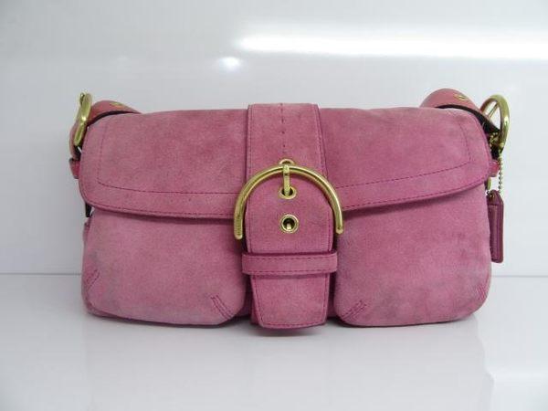COACH 粉色麂皮口袋磁釦手提肩背包 3659 【BRAND OFF】