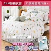 MIT銀離子抗菌防螨天鵝絨100%天鵝絨床包枕套組A010-一束蒲兒/加大6尺床包組