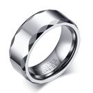 《 QBOX 》FASHION 飾品【RTCR-051】精緻個性簡約邊折鏡面拋光鎢鋼戒指/戒環