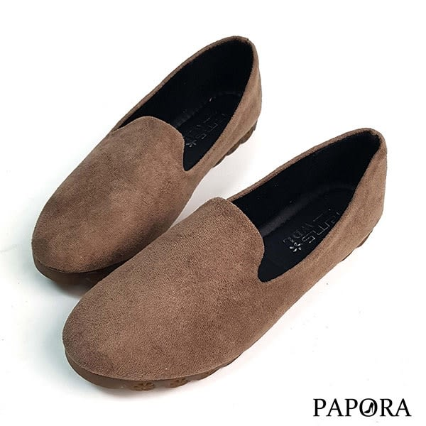 PAPORA可彎式豆豆樂福平底娃娃鞋K4033黑/卡其(偏小)