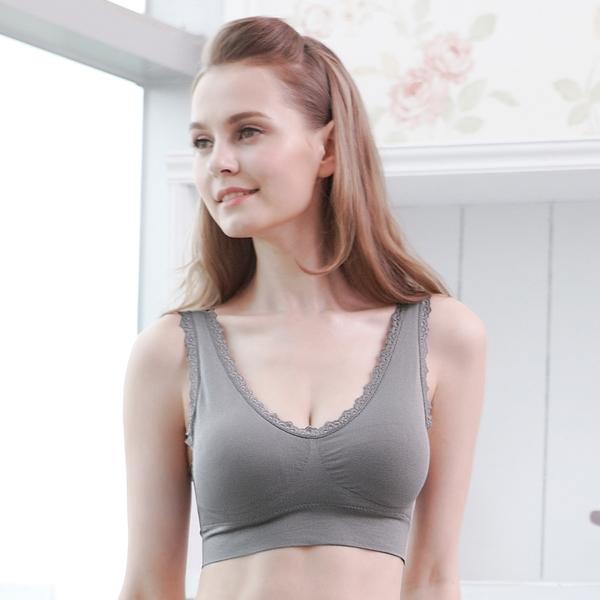 運動內衣 蕾絲美胸衣。瑜珈路跑有氧運動,內搭居家背心超彈力M~XL(灰色)【Daima黛瑪】