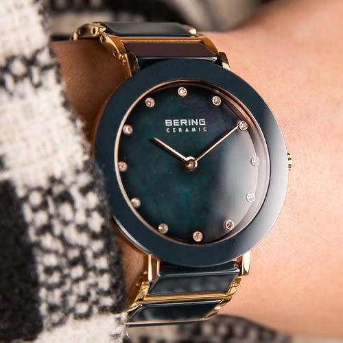 BERING 丹麥精品手錶 Ceramic 現代極簡藍色珍珠貝陶瓷腕錶 11435-767 熱賣中!
