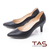 TAS質感素面壓紋羊皮曲線高跟鞋–晚宴黑