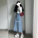 2色/簡約韓風ins中長款高腰牛仔半身裙女顯瘦學生開叉中裙