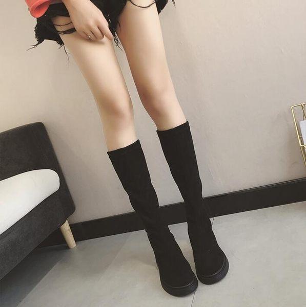 過膝靴 女秋冬新品韓版高筒瘦瘦靴平底長筒靴子女chic馬丁靴女