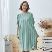 【Tiara Tiara】條紋拼接大口袋V領半袖洋裝(藍/綠) 新品穿搭