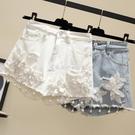 刺繡牛仔短褲女夏新款寬鬆破洞闊腿大碼胖mm200斤高腰a字熱褲 快速出貨