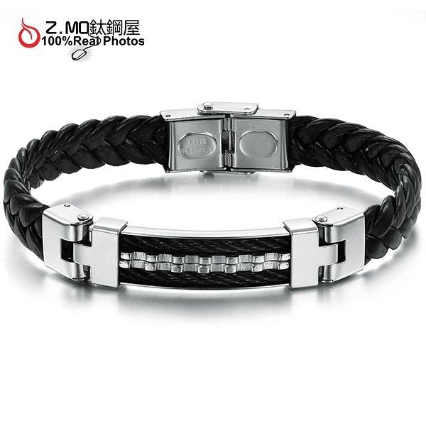 [Z-MO鈦鋼屋]黑銀鋸齒型編織皮繩中性手環/男性運動手環推薦/單件價【CKLS816】