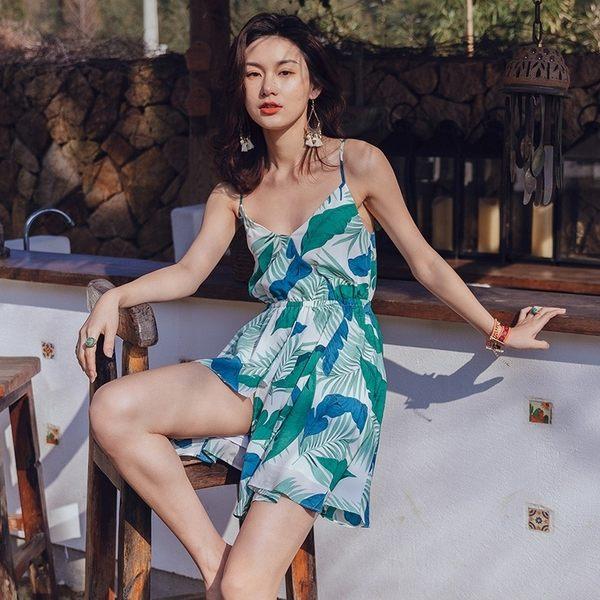 梨卡 - 可愛印花海邊度假時尚泰國沙灘裙C6435