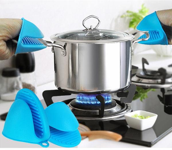 隔熱手套 加厚微波爐烤箱隔熱手套防滑廚房烘培耐高溫防燙硅膠4只裝   蜜拉貝爾